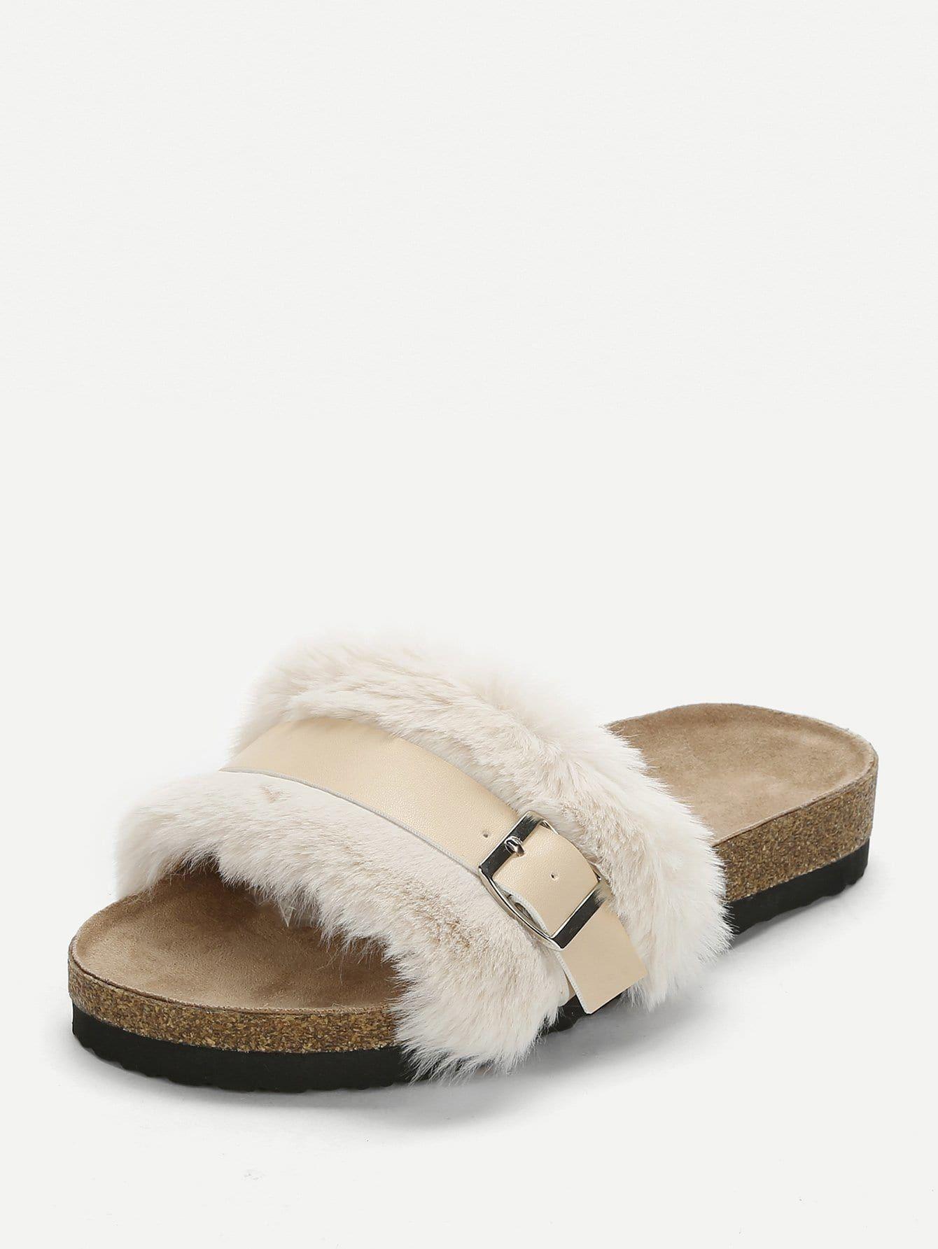 4e333f2db6 Casual Open Toe Beige Open Tone Fluffy Slippers | Shoe | Slippers ...