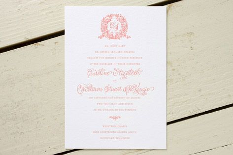 wreathed monogram wedding invitation designed by Dauphine Press