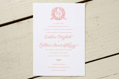 wreathed monogram wedding invitation designed by dauphine press,