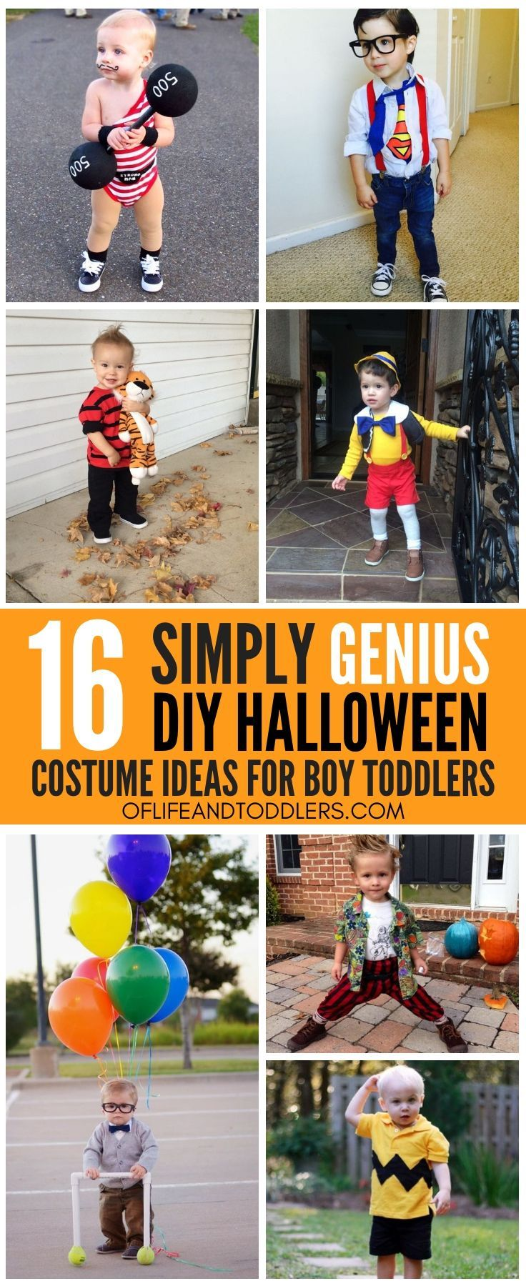 These little guys are just too cute! Share these DIY Halloween costumes ideas for toddler boys with your friends! #toddlerhalloween