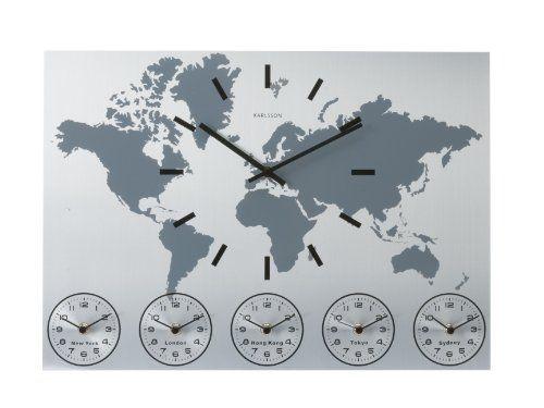 Karlsson Wall Clock Worldtime Aluminum Present Time httpwww