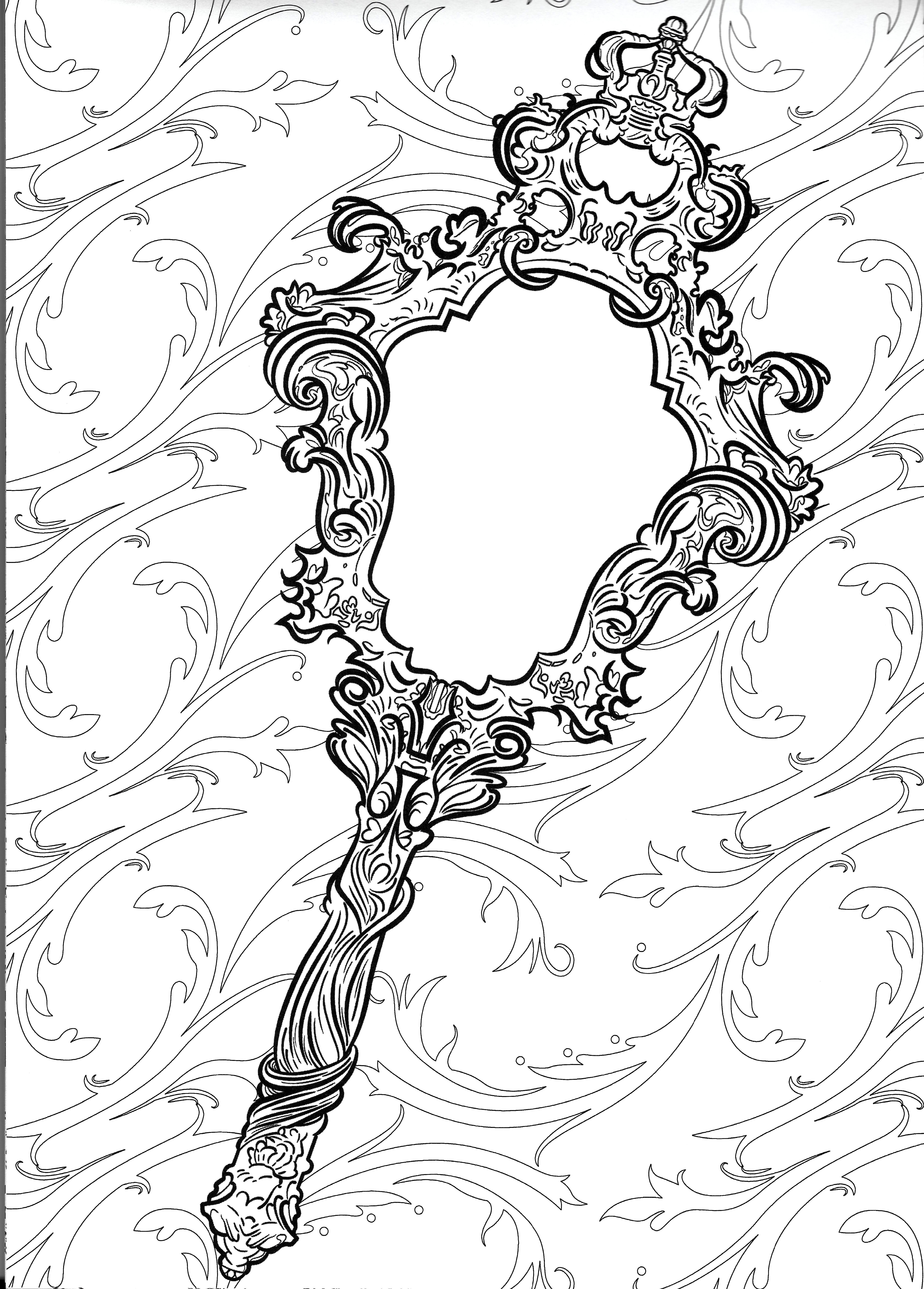 Beauty And Beast S Mirror Mirror Tattoos Coloring Pages Beauty And The Beast