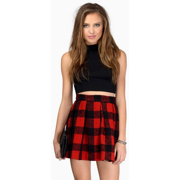 Tobi Charm School Plaid Skirt ($48) Liked On Polyvore Featuring Skirts Outfits Knee Length ...