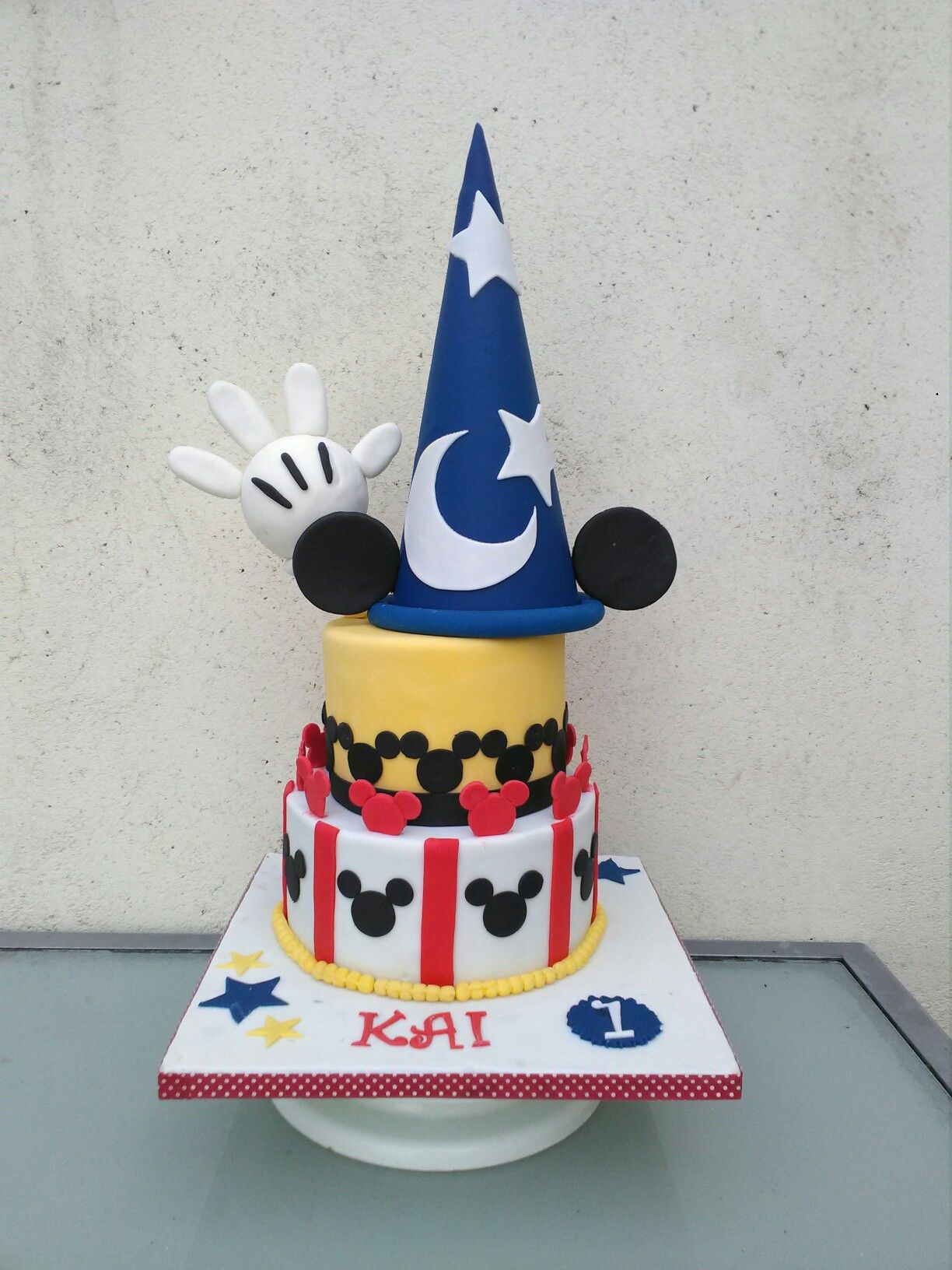 Mickey mouse first birthday cake with fantasia hat From the