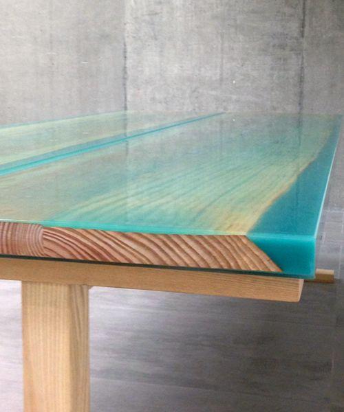 mesa de madera y resina iro de jo nagasaka recliclate