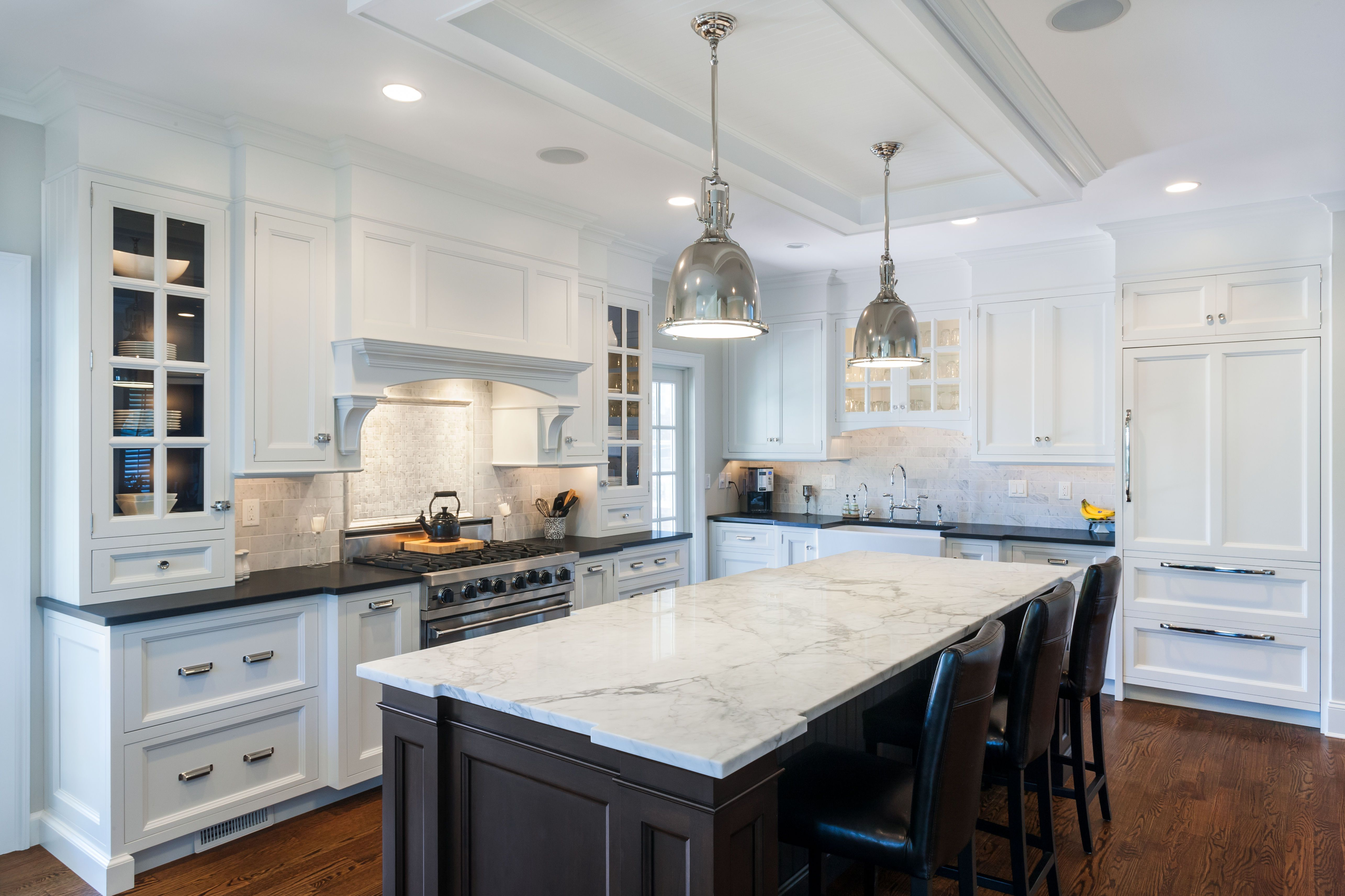Design Kitchen Countertop Ideas Black Kitchen Island White Marble