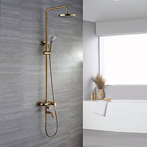 Exceptional Ti PVD Finish Contemporary Wall Mount Brass Shower Faucets    FaucetSuperDeal.com