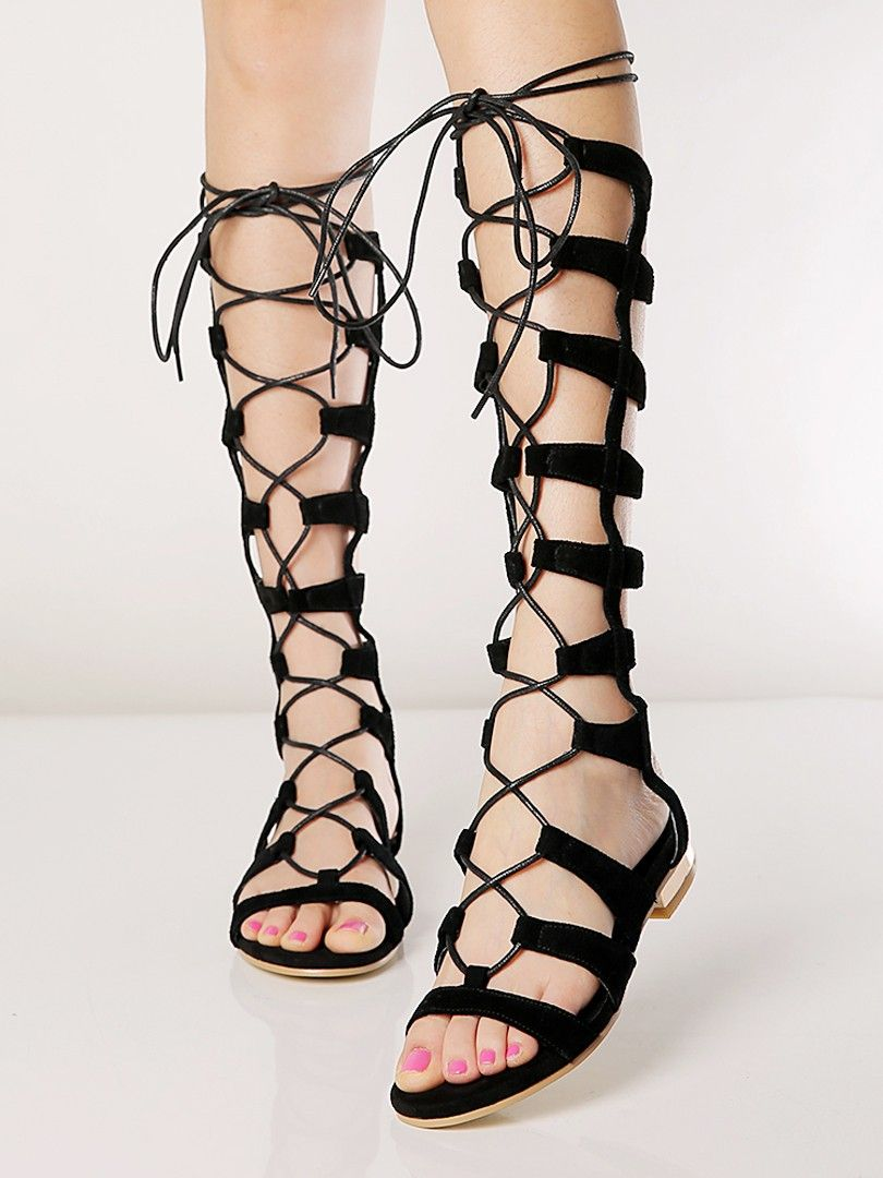 Nero Suede Knee High Lace up Gladiator Sandalo    My style haves    f8f6b1