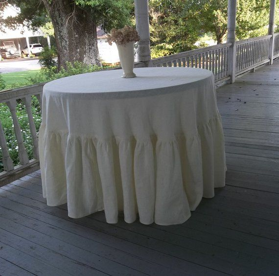 Ivory Linen Floor Length Tablecloth Ruffled Ready To Ship 94 Round