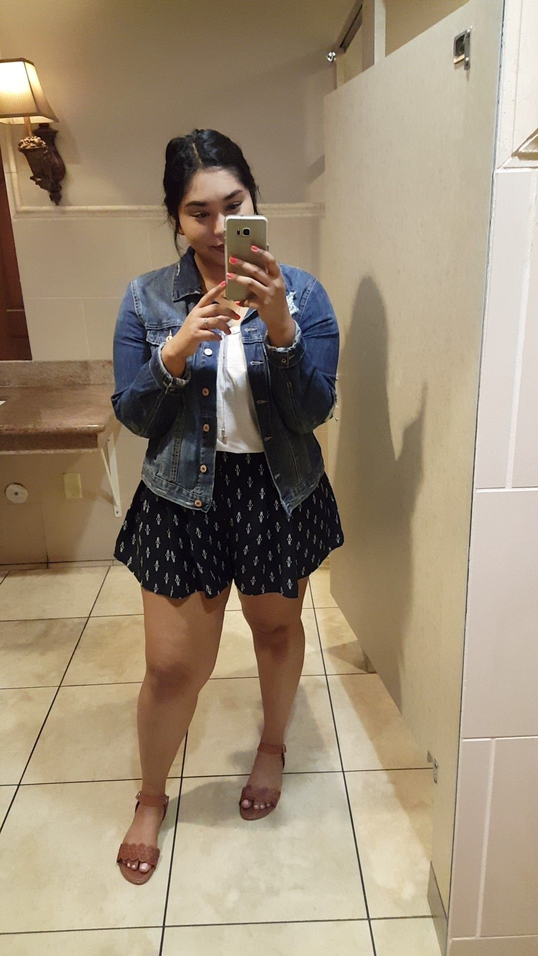 Jean jacket: Forever 21 plus Top: Tilly's Shorts ...