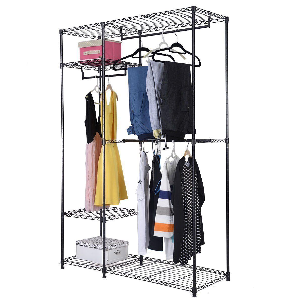 Portable Clothes Wardrobe Garment Rack Home Closet Hanger Storage Organizer