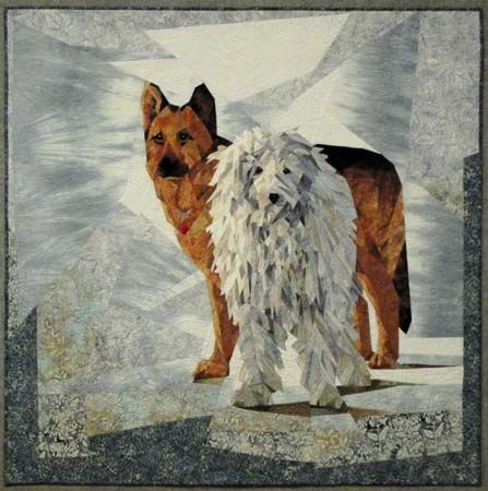 """""""Snow Buddies"""" quilt: Ruth Powers:  """"These are my dogs, a Komondor, 145 lbs and a Shepard mix, 165 lbs!"""""""