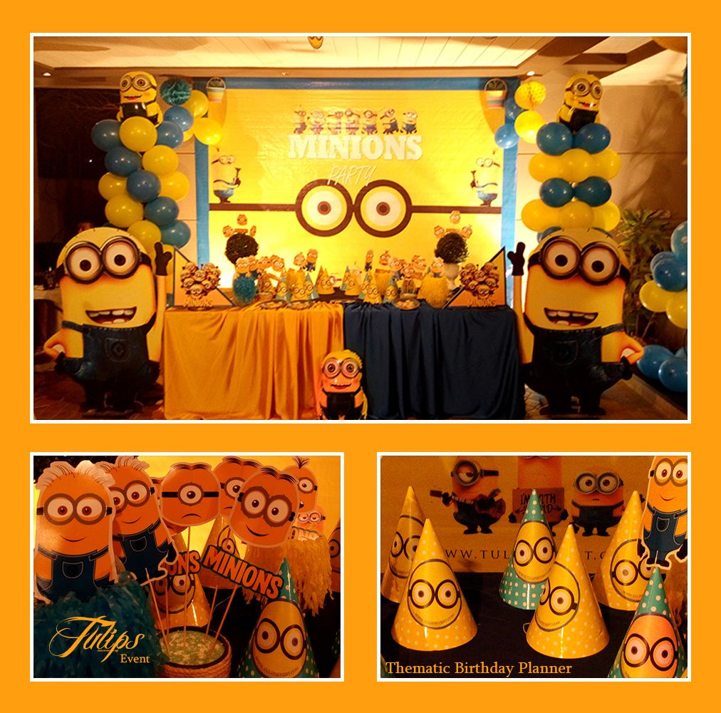 Minions Birthday Party Decoration cutouts and paper sticks party