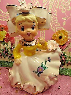 Vtg Pink Easter Shopper Southern Belle Bloomer Girl W BIG Hair Bow Pink Flower