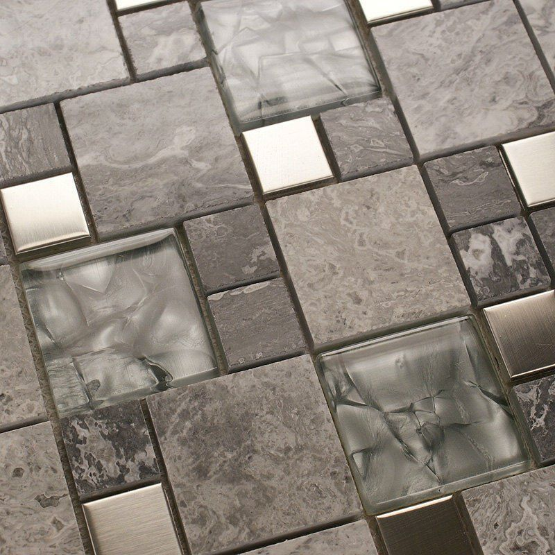 Metal mosaic tile mirror kitchen backsplash metal crystal glass stone blend  bathroom wall tile design deco