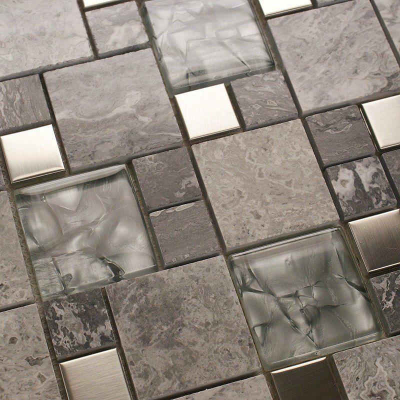 Metal Mosaic Tile Mirror Kitchen Backsplash Metal Crystal Glass Stone Blend Bathroom Wall Tile Metal Mosaic Tiles Metallic Backsplash
