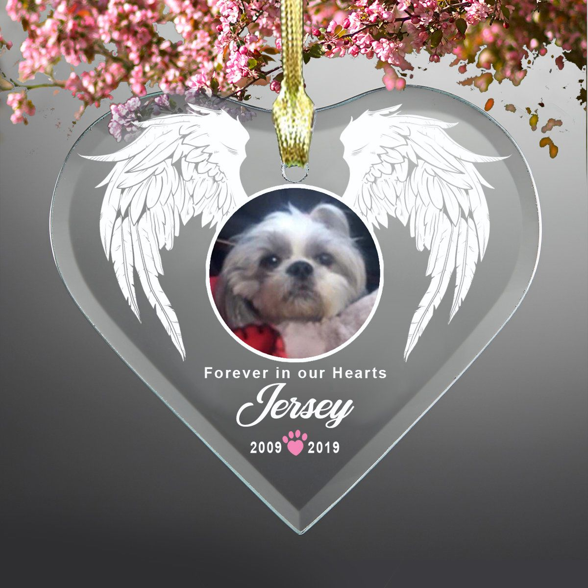 Forever in our Hearts Pet Glass Heart Ornament