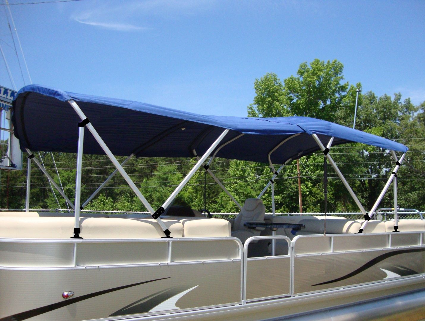 Check out our Dual Pontoon Bimini Top. Full coverage for the entire boat!  & Check out our Dual Pontoon Bimini Top. Full coverage for the ...