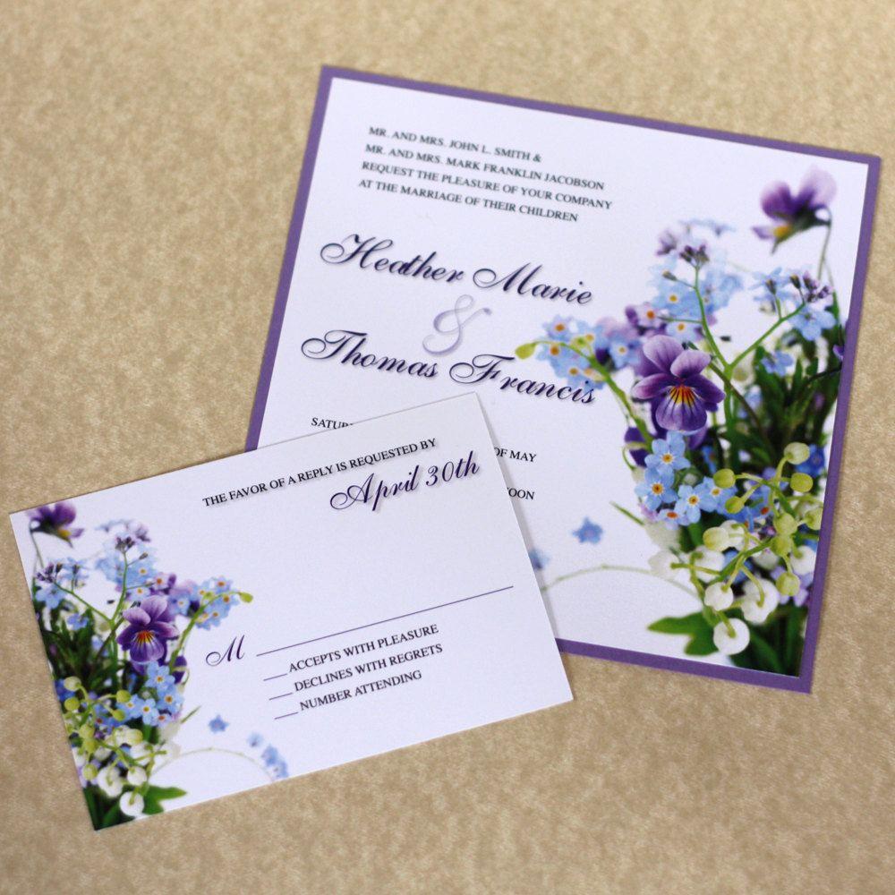 Purple hydrangea wedding invitation sample - Wild Flower Wedding Invitation Spring By Willowglenstationery 5 40