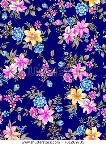 flower pattern black navy ground - buy this illustration on Shutterstock & find other images.