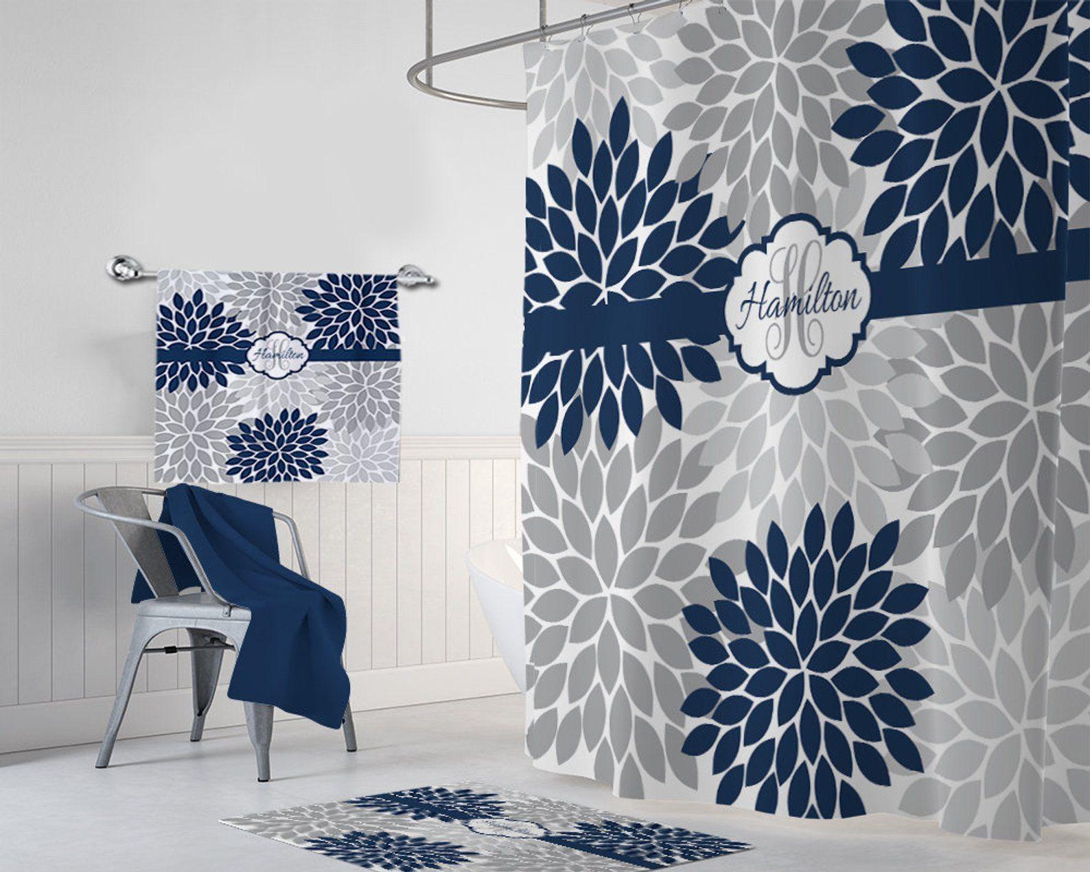 Flower Navy Gray Shower Curtain Flower Navy Gray Bathroom Etsy