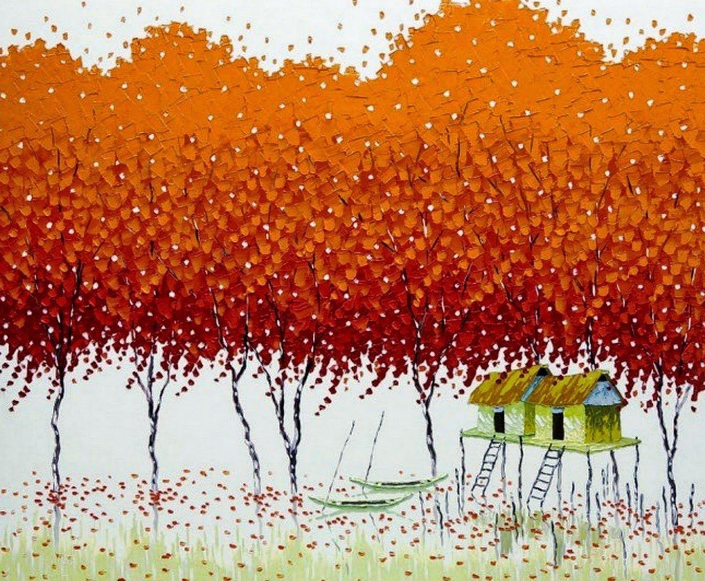Cuadros modernos de paisajes pintados espatula cuadros - Cuadros espectaculares modernos ...