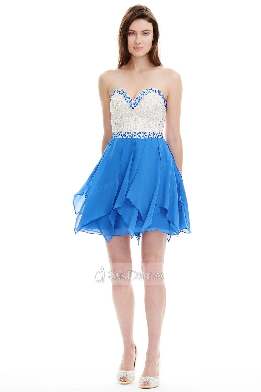 Okdress strapless sweetheart beaded mini prom cocktail dress prom