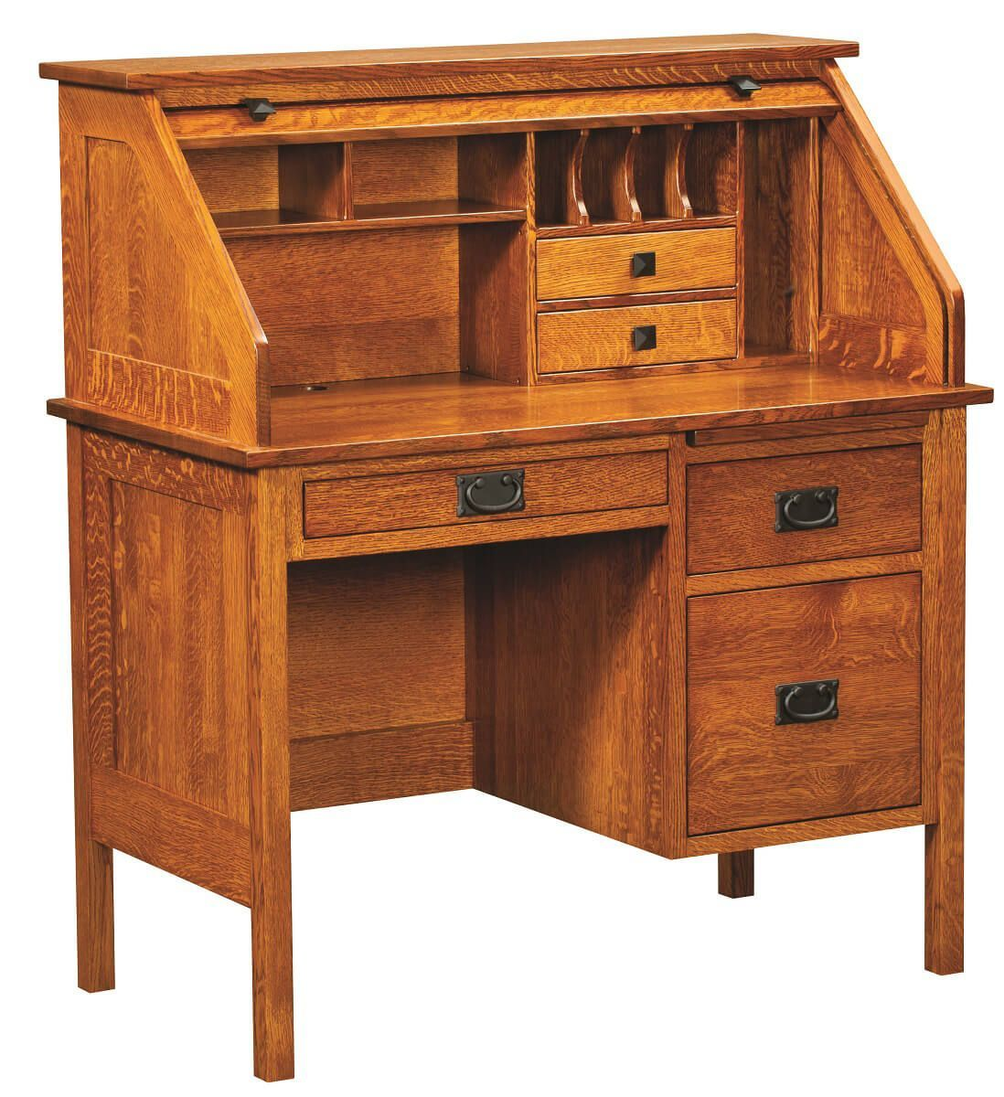 Esto Single Pedestal Rolltop Desk Roll Top Desk Small Roll Top Desk Traditional Desk
