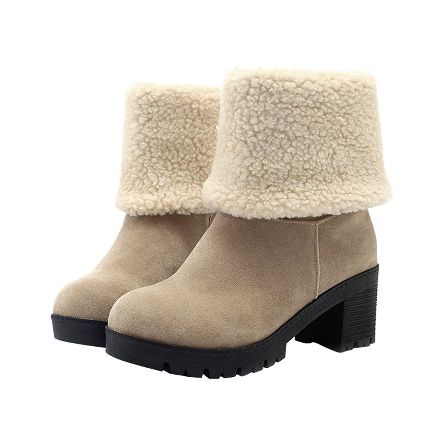 aeb4264f8fb3 Latasa Women s Faux Suede Chunky Heel Pull on Mid Calf Winter Snow Boots    Click on