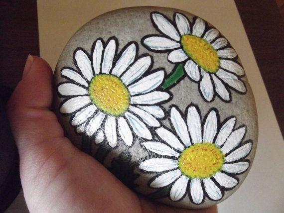White daisies painted rock shasta daisies