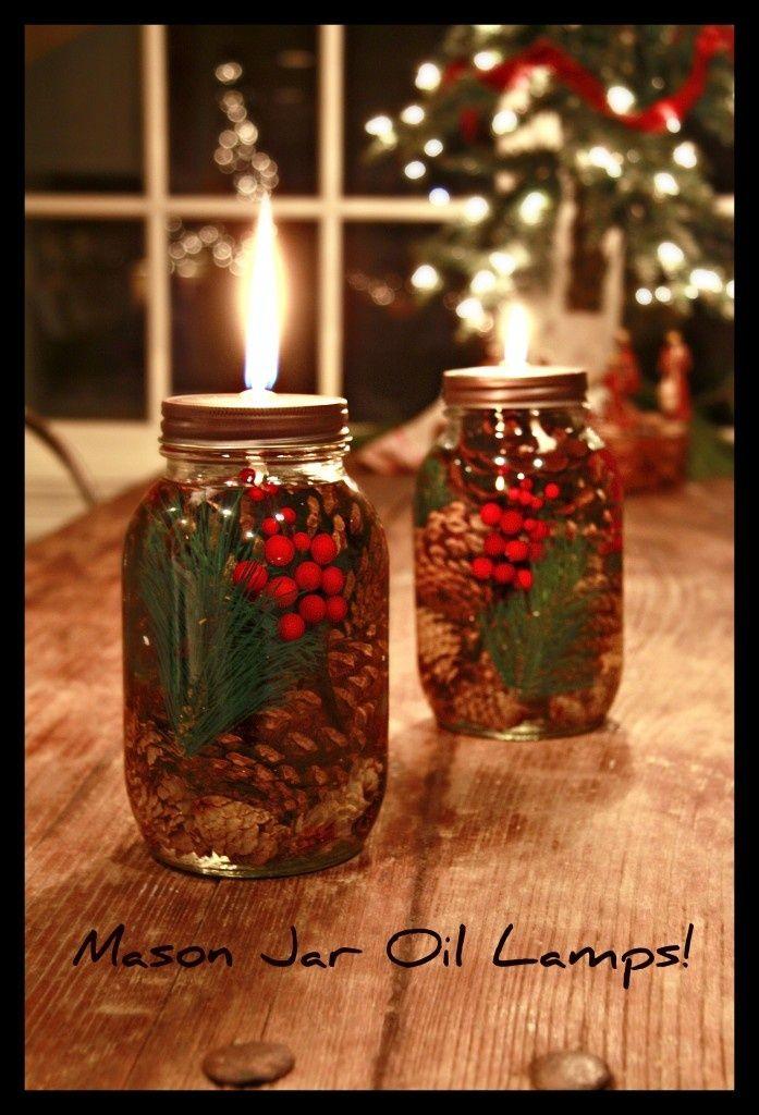 Christmas oil lamp made from Mason Jars
