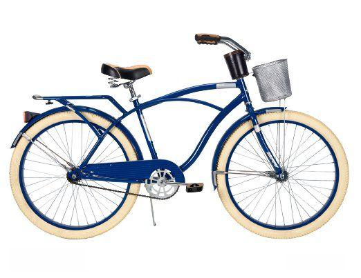 Amazon Com Huffy Men S Deluxe Cruiser Bike Gloss Navy Blue 26 Inch Medium Sports Outdoors Bicycle Cruiser Bike Cruiser Bicycle