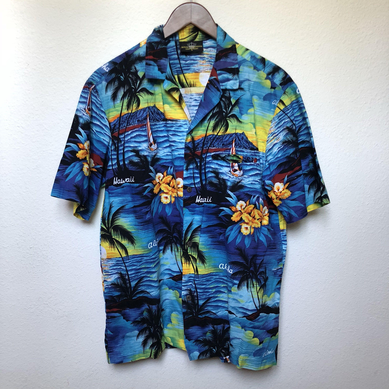 db6b9514b ... #etsy shop: Vintage blue Hawaiian shirt palm tree sunset tropical  floral Aloha shirt, tiki oasis retro 80s 1980s vtg Royal Creations Hawaii,  men L large