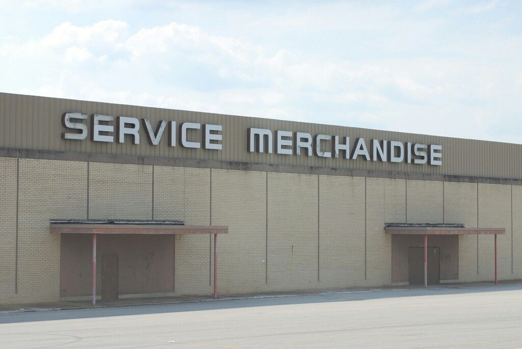 An abandoned service merchandise store going out of