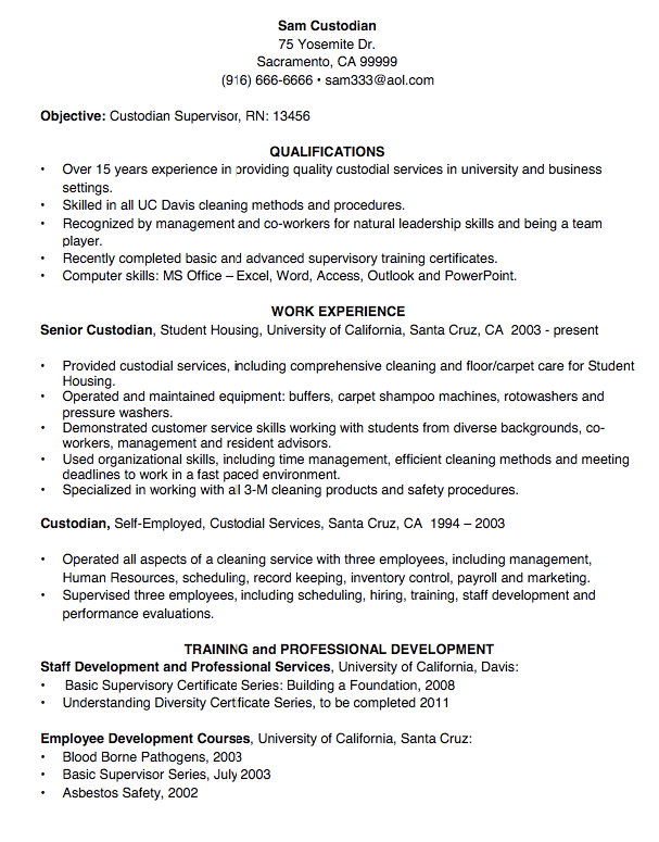 Custodian Resume Sample Examples Resume Cv Job Resume Examples Simple Resume Examples Resume Skills