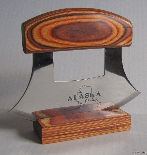 Alaska Ulu Knife Natrual Exotic Wood Stand Etched Blade By Arctic Circle  Enterprises. $11.98.