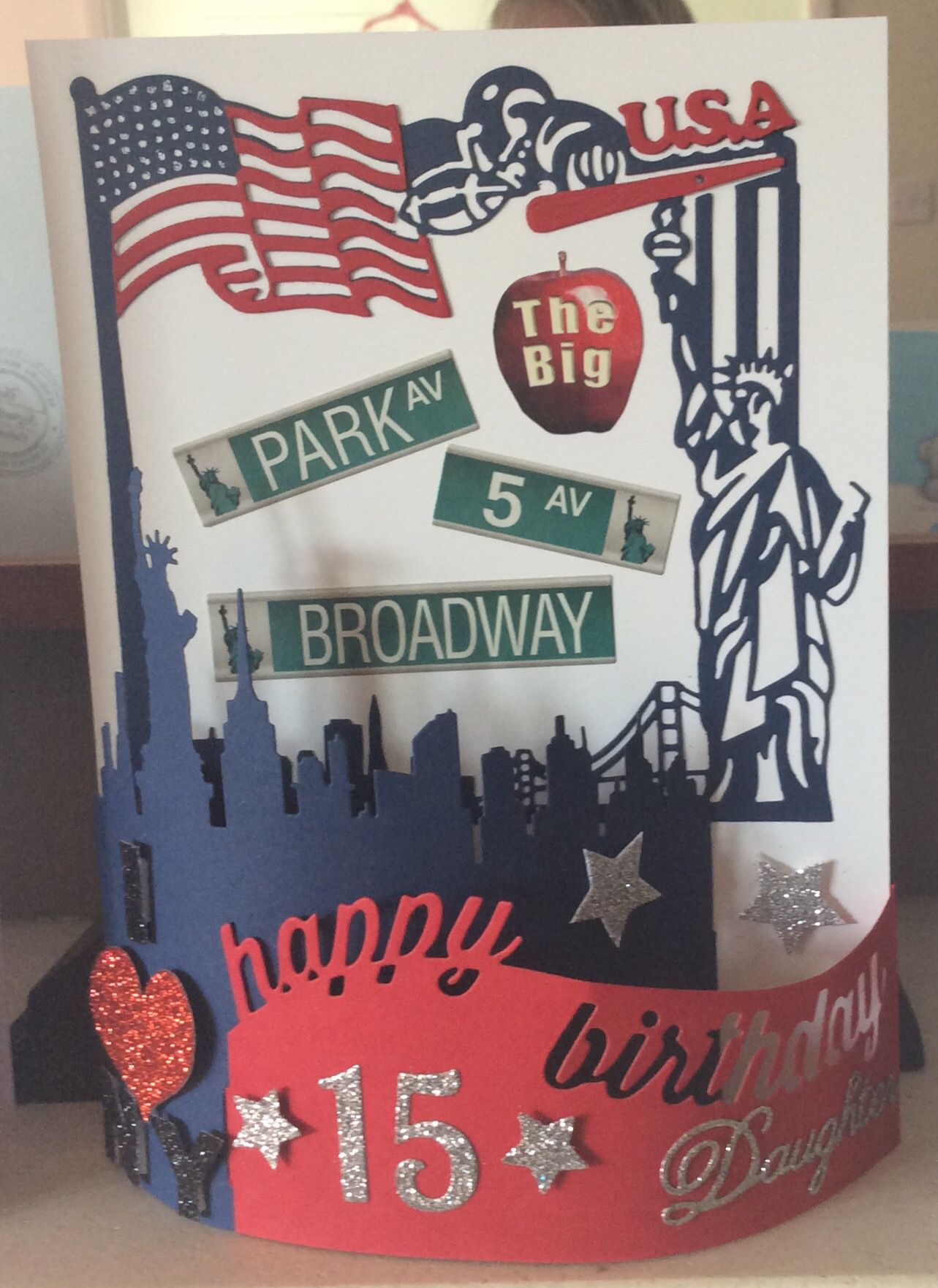 New York Themed Birthday Card For Daughter S 15th Birthday Birthday Cards 15th Birthday Crafts