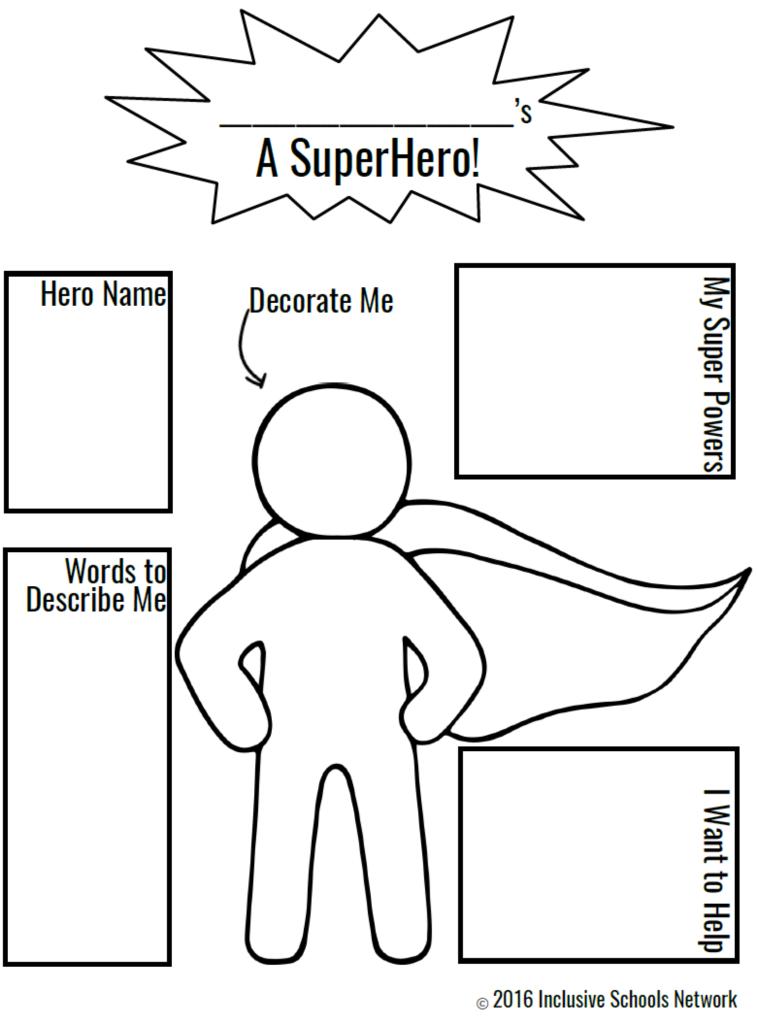Create Your Own Superhero Worksheet : create, superhero, worksheet, Champions, Inclusion, Activities, Superhero, Preschool,, Super, Activities,, Classroom, Theme