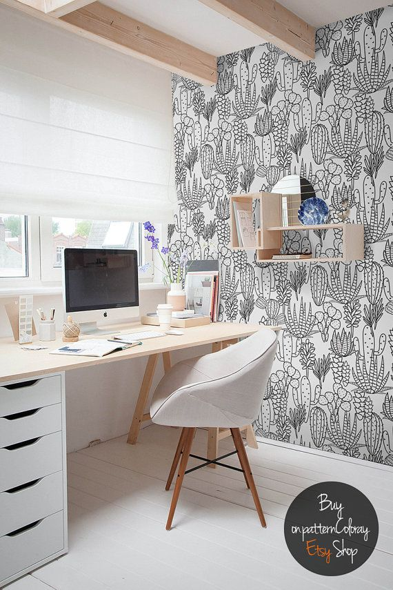 Handdrawn Cactus Pattern Wallpaper Peel And Stick Wall Etsy Home Office Decor Home Office Space Interior