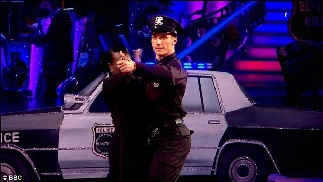 The fuzz: Tameka Empson and Gorka stormed the floor next with a dramatic Tango to 'The Heat Is On' from Beverly Hills Cop - dressed in matching, sparkly police uniforms