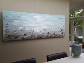 M ijsblauw taupe abstract schilderij voor uw lu grote