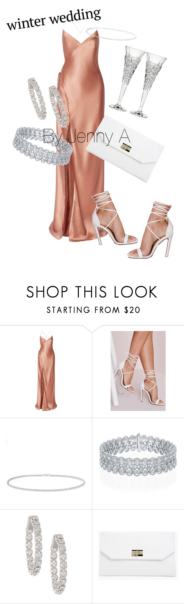 """""""#winterwedding"""" by jen-amaya ❤ liked on Polyvore featuring Mason by Michelle Mason, Missguided, Anne Sisteron, Boohoo and Godinger"""