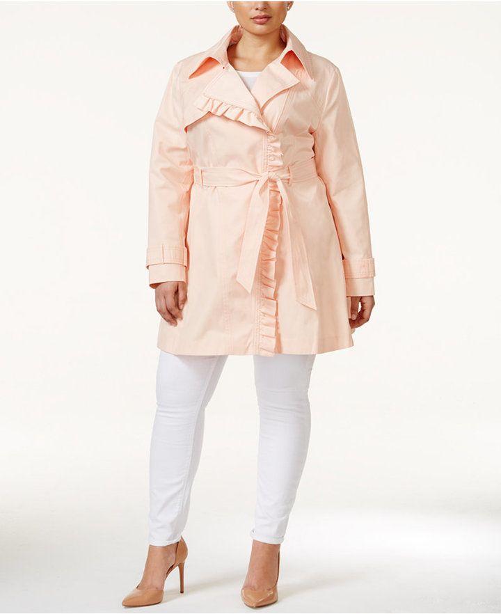 3a4a8f8740c68 Jessica Simpson Plus Size Ruffle-Trim Trench Coat