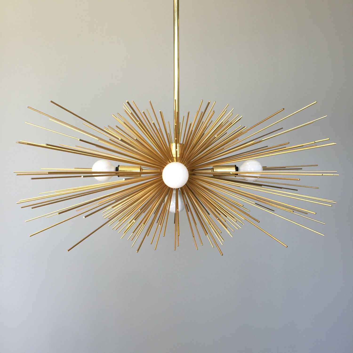 5 Bulb Gold Urchin Chandelier Lighting by DuttonBrown on Etsy