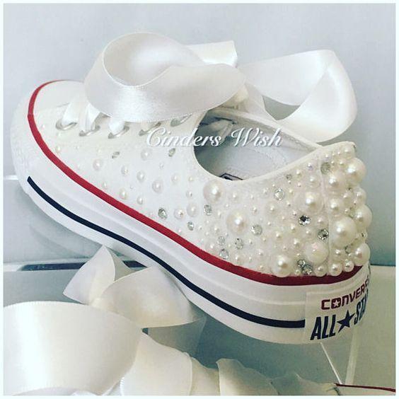 White Pearl Converse   Wedding converse   Bridal chucks   Bridal converse    Crystal shoes  bridesmaid converse   pretty converse   prom conv 16a01f9f2