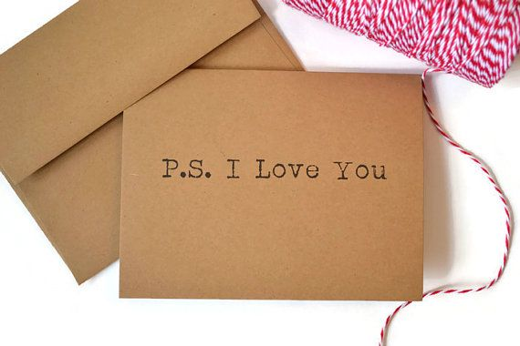 Ps i love you card anniversary card valetines by giveitpretty
