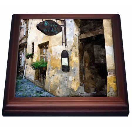 3dRose Outside of European Bistro, Trivet with Ceramic Tile, 8 by 8-inch