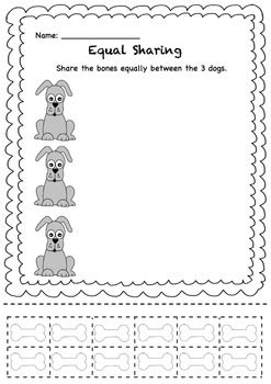 Equal Sharing Share The Bones Between The Dogs Math Activities