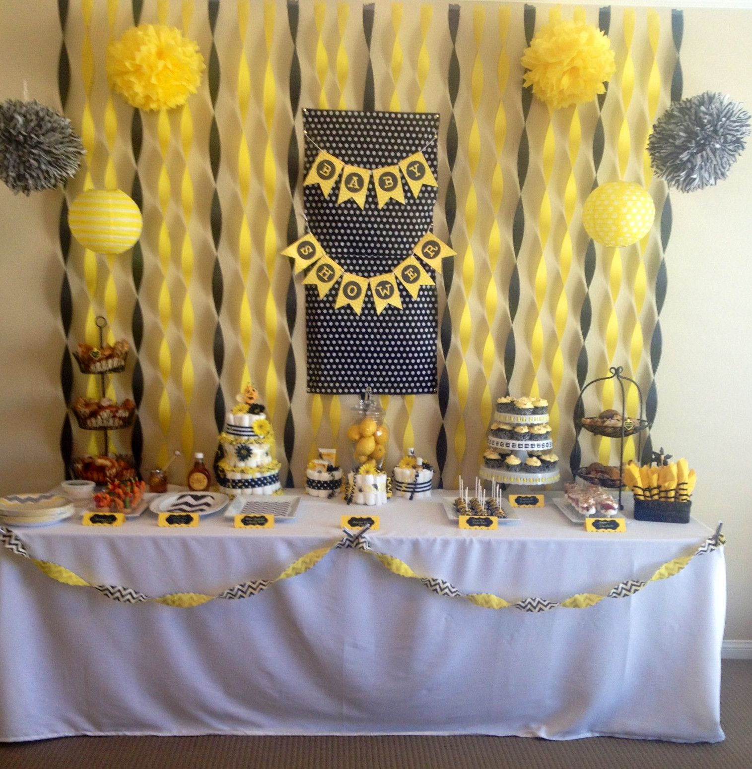 Bumble Bee Themed Baby Shower With Buttercup And Slate Grey Tissue Paper Pompoms
