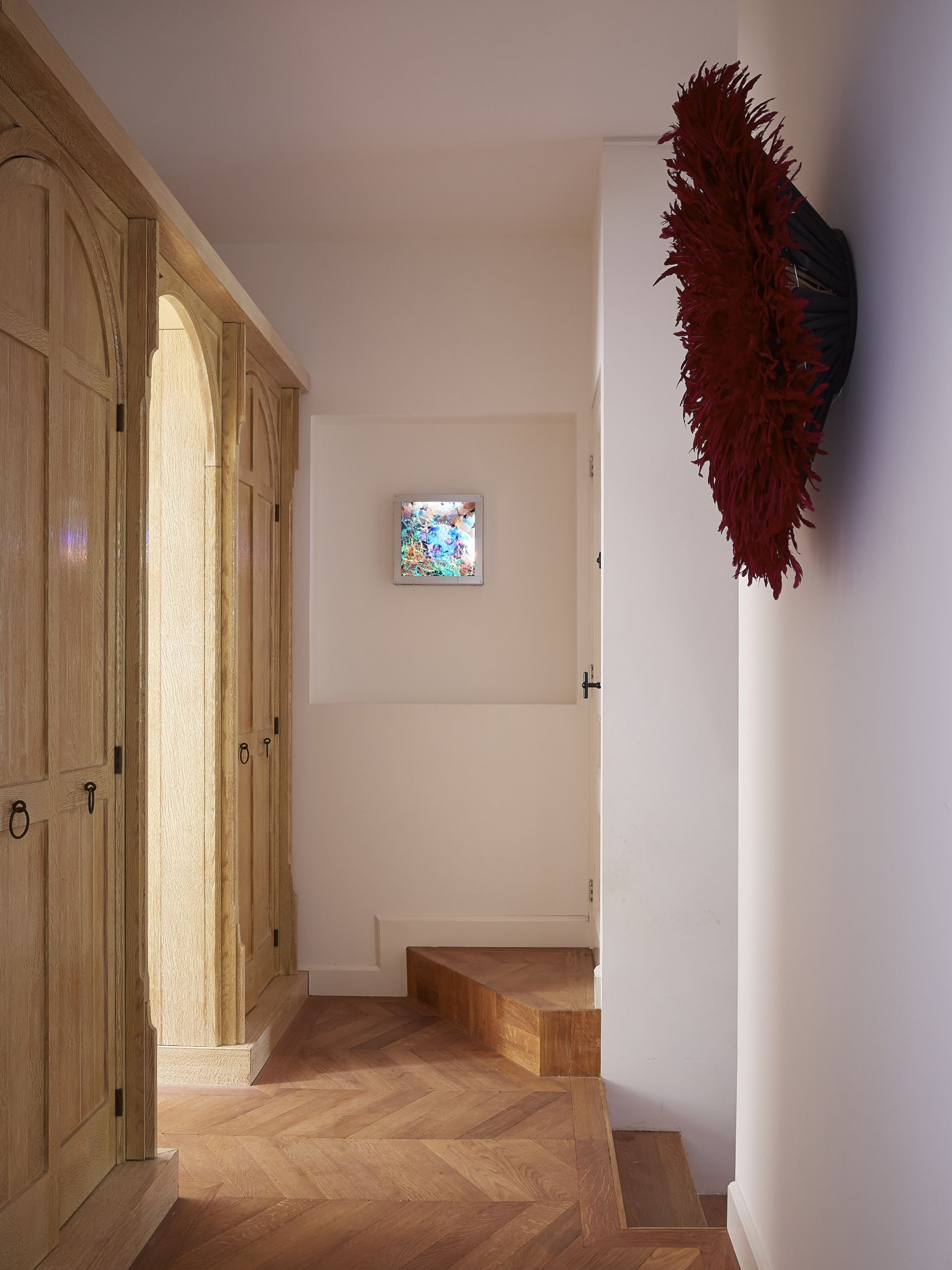 Dado rail hallway ideas  Hallway cabinets and contemporary art illuminated designed by